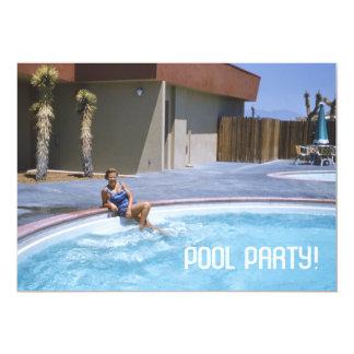 Pool-Partyfünfziger jahre Thema Karte