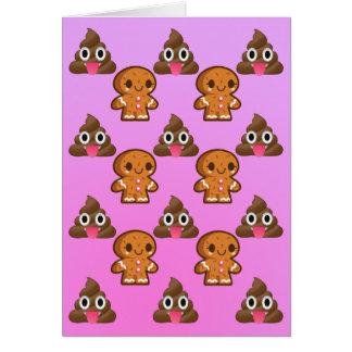 Poopy Emoji und Lebkuchenmann Geburtstagskarte Karte