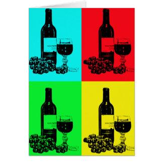 Pop-Art-Wein und Trauben-Kunst-Geschenke Karte