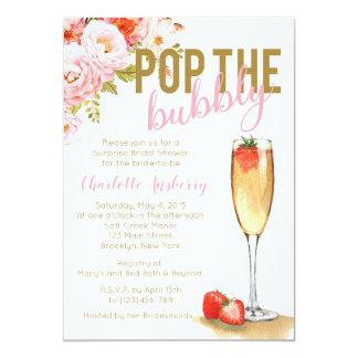 Pop die sprudelnde BlumenBrautparty-Einladung Karte