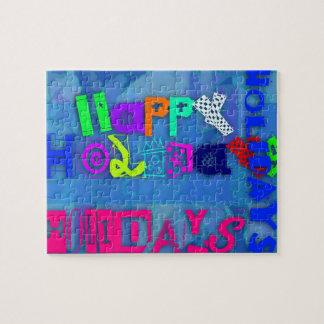 Pop-glückliche Feiertags-buntes Puzzlespiel