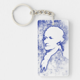 Pop-Kunst-Porträt Alexander Hamilton Einseitiger Rechteckiger Acryl Schlüsselanhänger