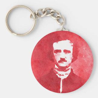Pop-Kunst-Porträt Edgar Allan Poe im Rot Schlüsselanhänger