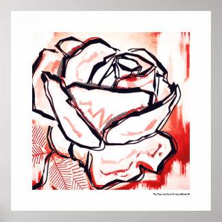 Pop-Kunst-Rote Rose dekorativer Lineart Plakat-Dru Poster