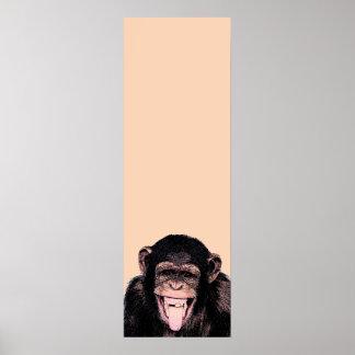 Pop-Kunst-Schimpanse, der heraus Zunge haftet Poster