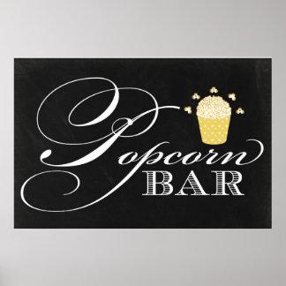 Popcorn-Bar-Zeichen der Tafel-24x36 Poster