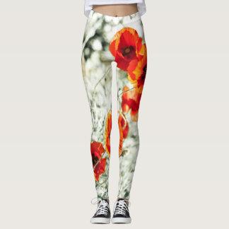 Poppy flowers all over in warm sunny tones leggings