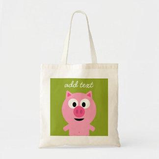 Porc mignon de ferme de bande dessinée - rose et sac en toile budget