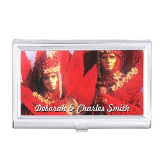 Porte-cartes De Visite Couples dans des costumes rouges au carnaval de