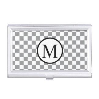 Porte-cartes De Visite Monogramme simple avec le damier gris