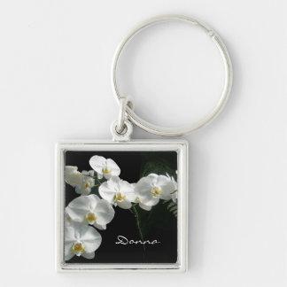 Porte - clé blanc d'orchidées porte-clé carré argenté