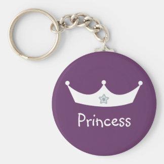 Porte - clé blanc et pourpre de couronne de prince porte-clé rond