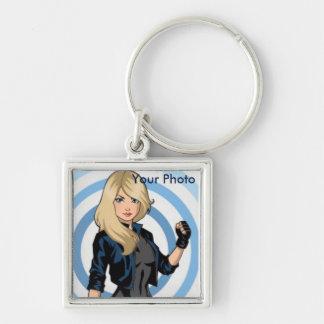 porte - clé customisé de photo porte-clé carré argenté