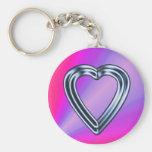 Porte - clé de coeur de chrome porte-clef