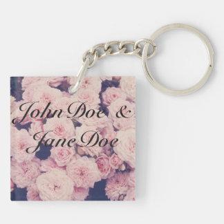 porte - clé de fleur de nom et de date porte-clé carré en acrylique double face