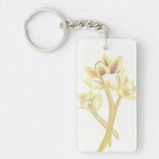 Porte - clé de fleurs porte-clé  rectangulaire en acrylique une face