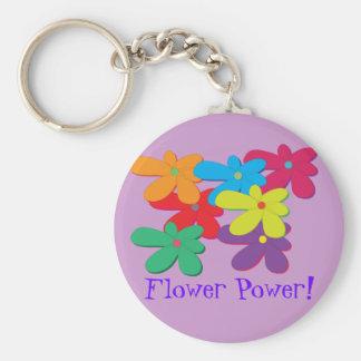Porte - clé de flower power porte-clé rond