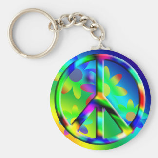 Porte - clé de hippie de flower power de signe de porte-clé