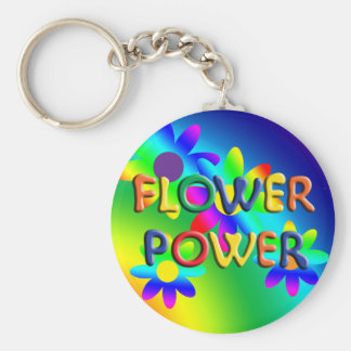 Porte - clé de hippie de flower power porte-clé rond