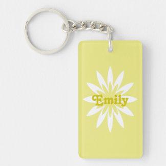 Porte - clé de monogramme de fleur jaune et porte-clé rectangulaire en acrylique double face