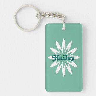 Porte - clé de monogramme de fleur verte et porte-clé rectangulaire en acrylique double face