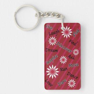 Porte - clé de motivation de fleur rose et blanche porte-clé rectangulaire en acrylique double face