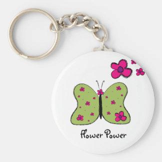 Porte - clé de papillon de flower power porte-clé rond