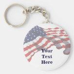 Porte - clé fait sur commande de drapeau américain porte-clé rond