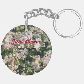 """Porte - clé fanatique de cercle de """"fleur de fleur porte-clé rond en acrylique double face"""