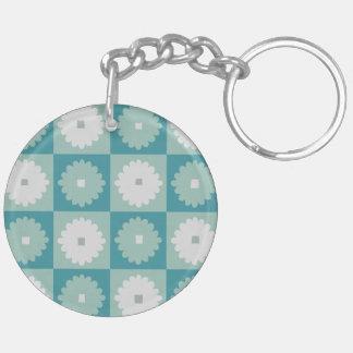 Porte - clé géométrique moderne de fleurs de la porte-clé rond en acrylique double face