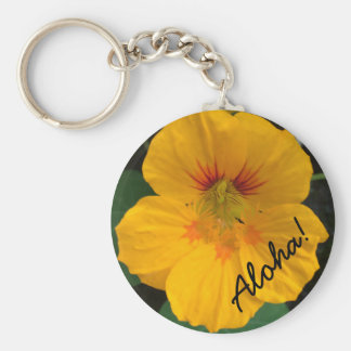 Porte - clé hawaïen jaune de fleur - Aloha ! Porte-clé Rond
