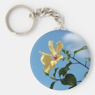 Porte - clé jaune gracieux de fleur de ketmie porte-clé rond
