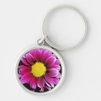 Porte - clé pourpre de fleur de marguerite porte-clé rond argenté