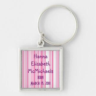 Porte - clé rose de faire-part de bébé de rayure porte-clé carré argenté