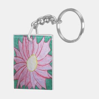 Porte - clé rose de fleur porte-clé carré en acrylique double face