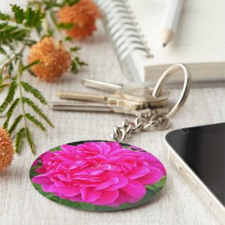 Porte - clé rose de fleur porte-clé rond