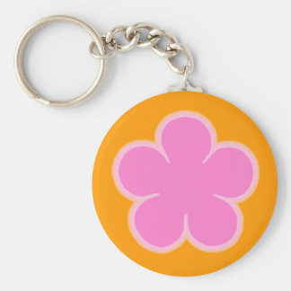 Porte - clé rose et orange de flower power de porte-clé rond
