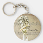 Porte - clé vintage de conception de microphone porte-clef