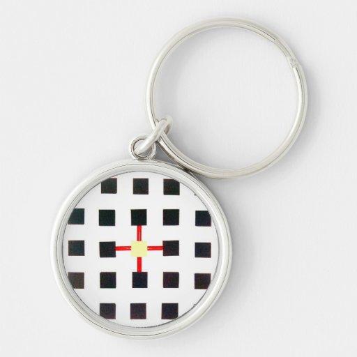 Porte-clés avec design géométrique et croix centra