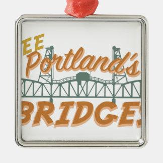 Portlands Brücken Quadratisches Silberfarbenes Ornament