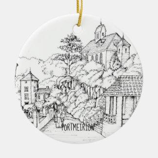 Portmeirion Nordwales Federskizze Keramik Ornament