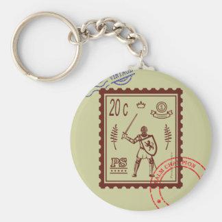 Porto-Briefmarken-Feudalritter Keychain Schlüsselanhänger