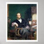 Portrait de Charles Dickens (huile sur la toile) Affiche