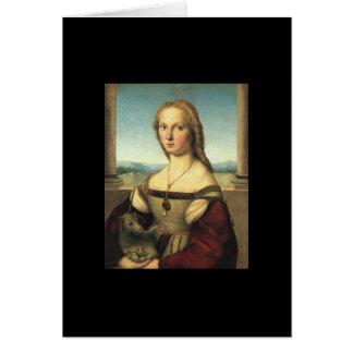 Porträt der jungen Frau mit Einhorn Karte