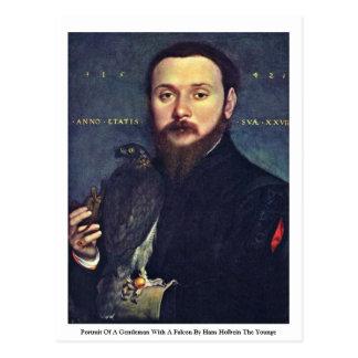 Porträt eines Herrn mit einem Falken Postkarte