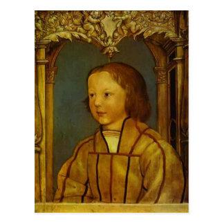 Porträt eines Jungen mit dem blonden Haar durch Postkarte