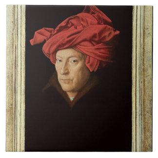 Porträt eines Mannes, 1433 (Öl auf Eiche) (sehen S Große Quadratische Fliese