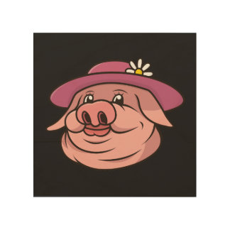 Porträt rosa Damen-Schwein Holzdruck