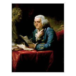 Porträt von Benjamin Franklin-Ablesen Postkarte