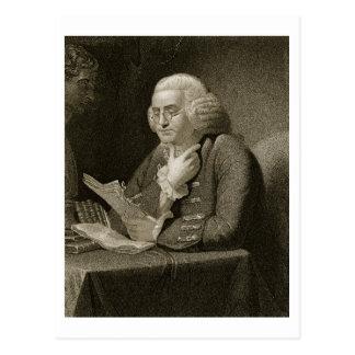 Porträt von Benjamin Franklin, graviert von Thomas Postkarte